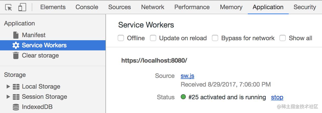 图3.12.1 查看当前页面注册的 Service Workers