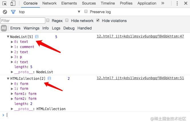 NodeList和HTMLCollection的区别