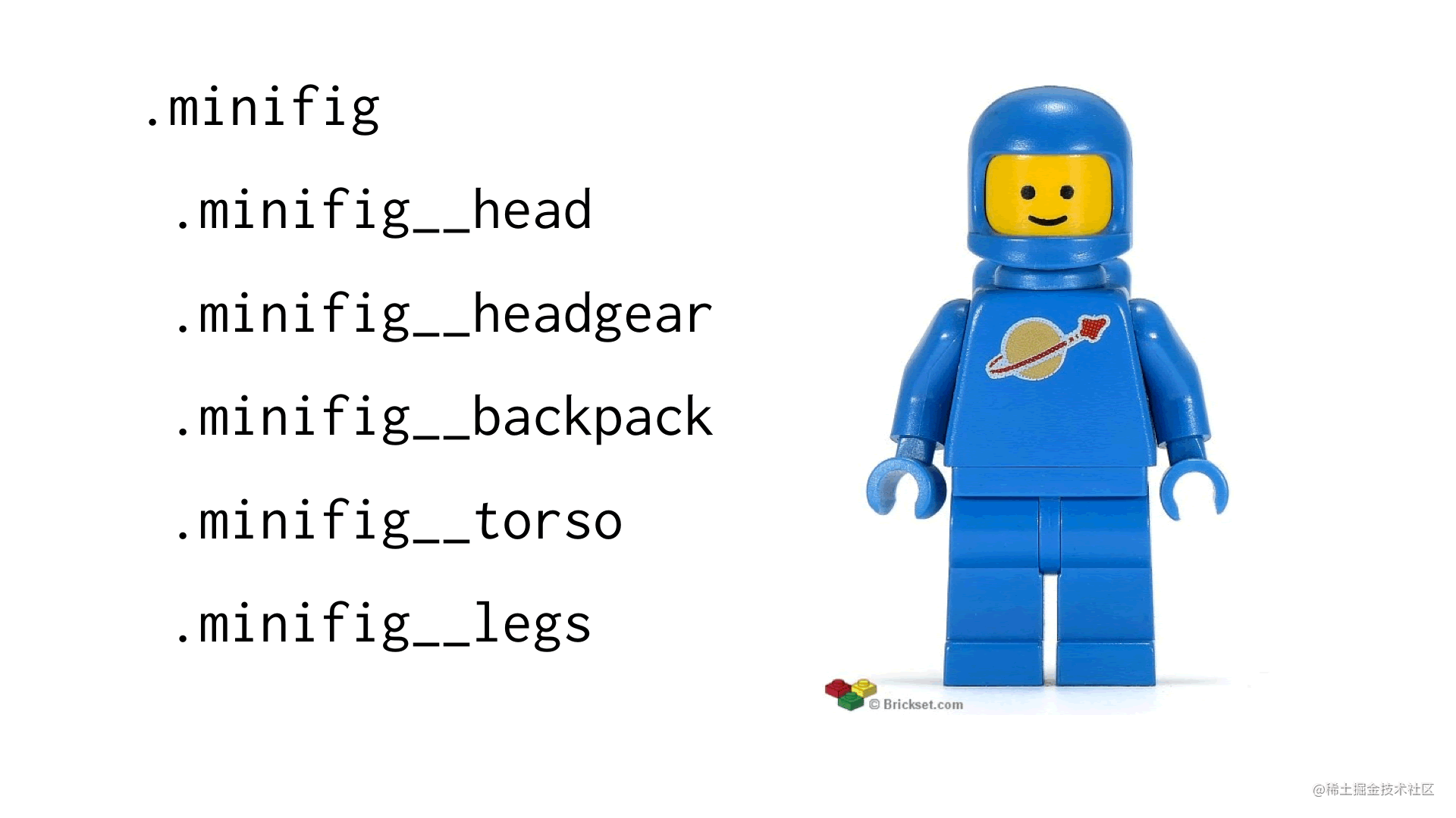Example of .minifig module with child elements such as .minifig__head and .minifig__legs