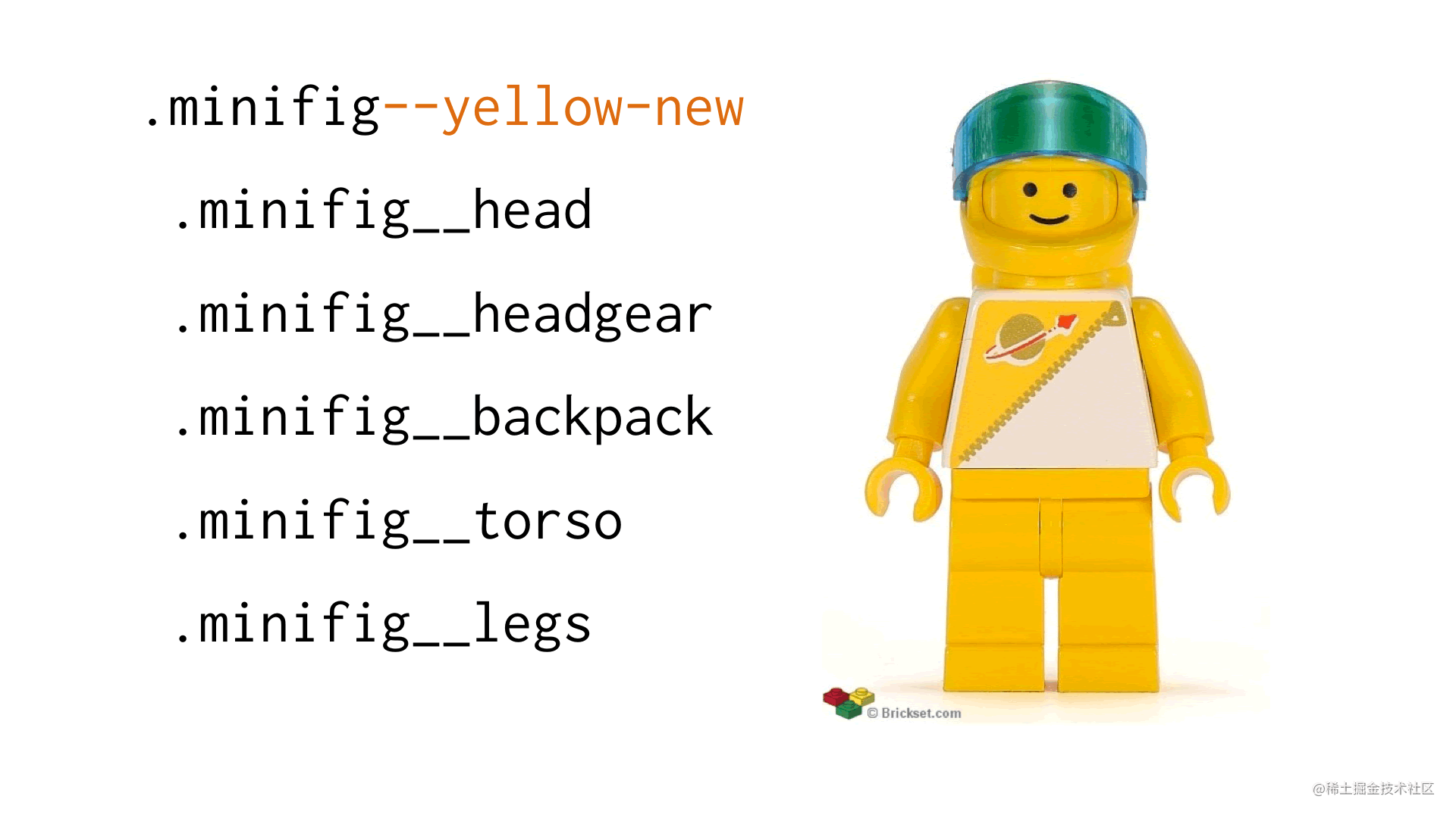 Example of a .minifig--yellow-new module modifier, turning the minifig yellow