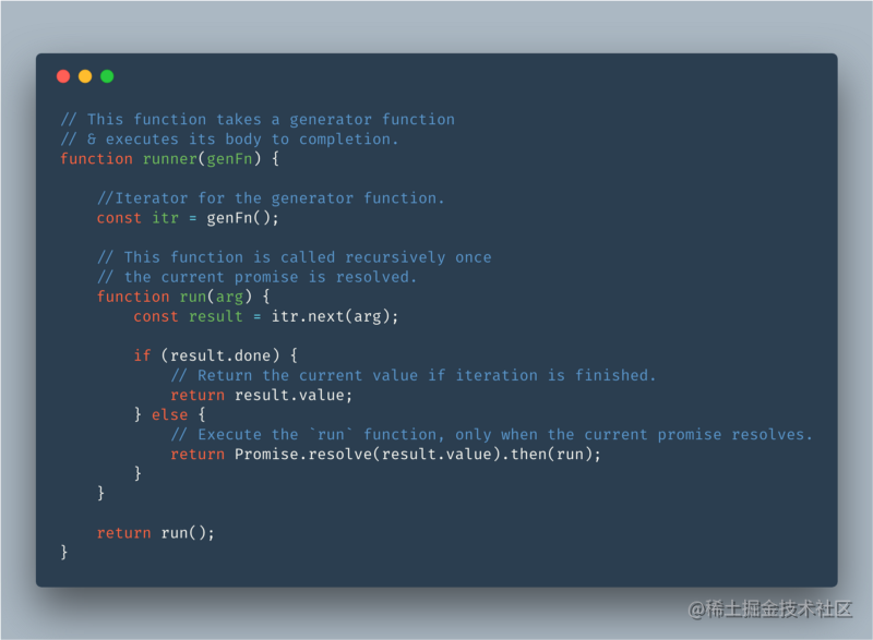 A function that executes a generator function. (Only for explanation, do not use it !)
