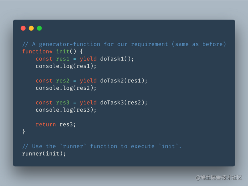 Use `runner` to execute the body of `init`.