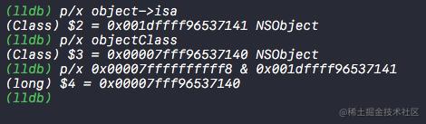 isa指针按位与得到Class对象地址