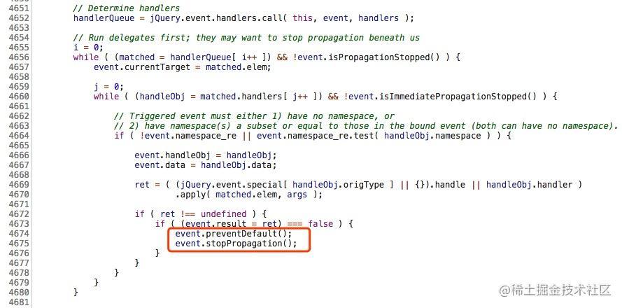 jQuery->return false 源码