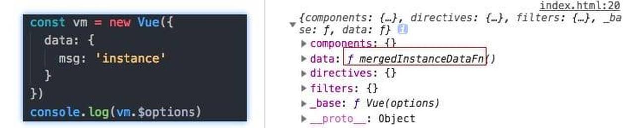 实例化合并data