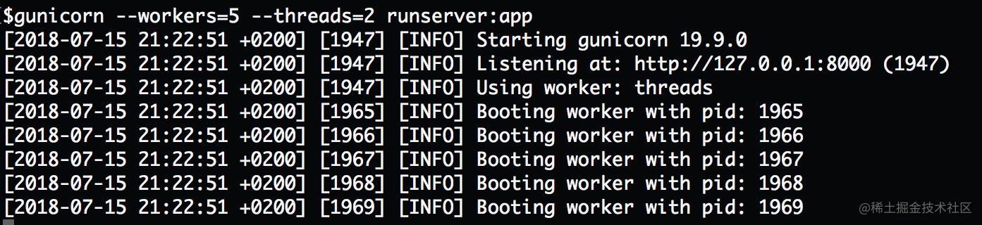 "Gunicorn 的多线程模式就是使用了 worker 的 gthread 类。请注意图片中的第四行 ""Using worker: threads""。"