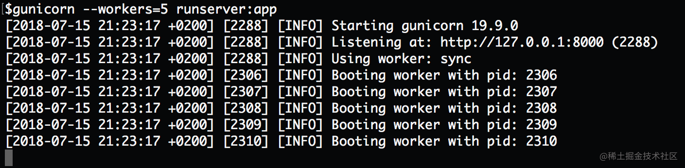"""Gunicorn 使用默认的 worker 模式(同步模式)。注意看这个图片的第四行:""""Using worker: sync""""."""