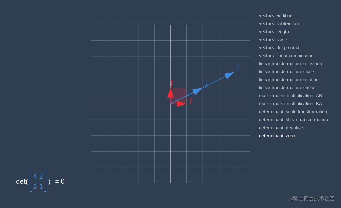 2D 中的 0 行列式