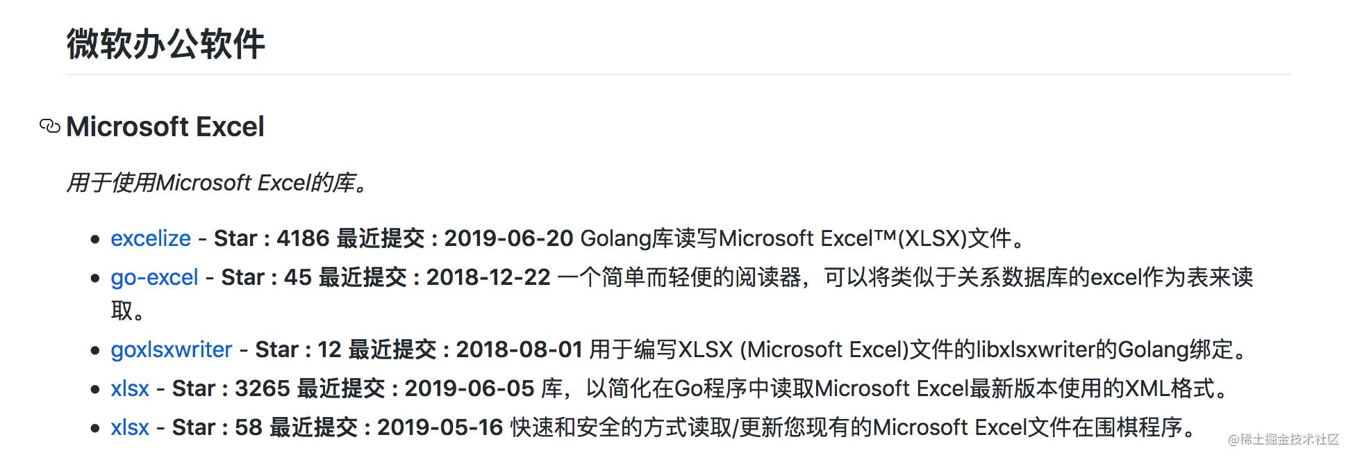 Awesome-go微软办公软件翻译部分,包含了项目的star/最近更新时间