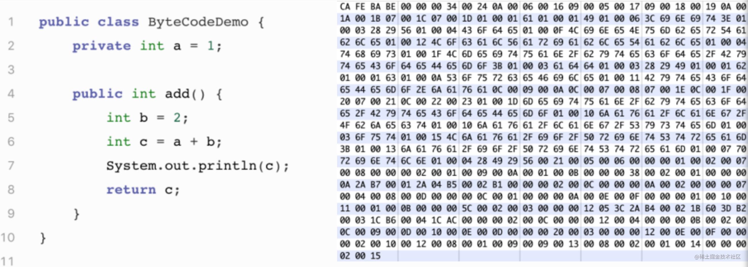 图2 示例代码(左侧)及对应的字节码(右侧)