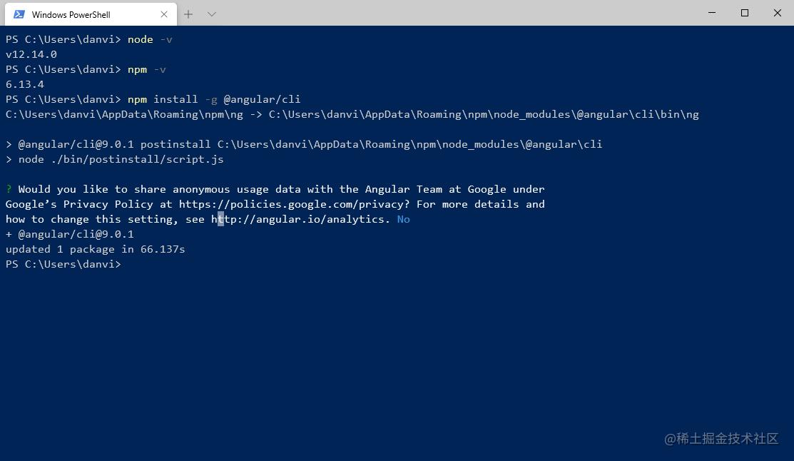 全局安装 Angular CLI